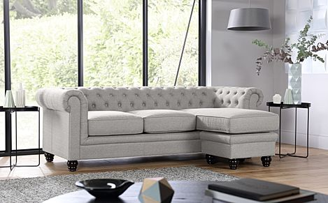 Hampton Light Grey Fabric Chesterfield Corner Sofa L Shape
