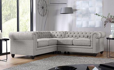 Hampton Light Grey Fabric Chesterfield Corner Sofa