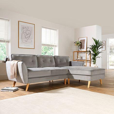 Harlow Grey Velvet L Shape Corner Sofa - RHF