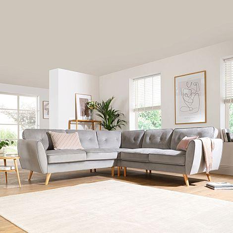 Harlow Grey Velvet Corner Sofa