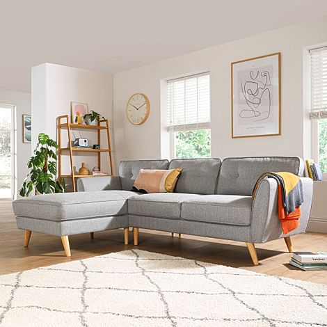 Harlow Light Grey Fabric L Shape Corner Sofa - LHF