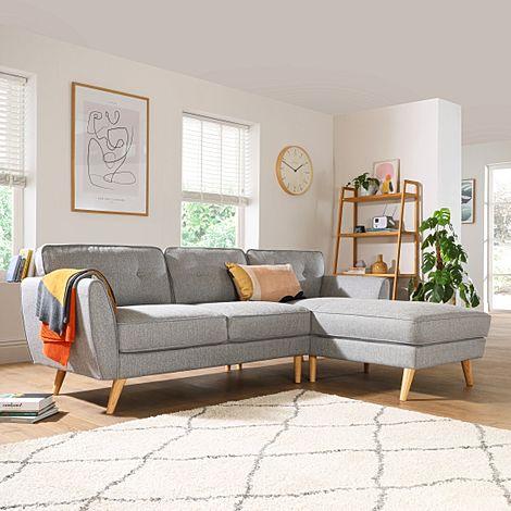 Harlow Light Grey Fabric L Shape Corner Sofa - RHF