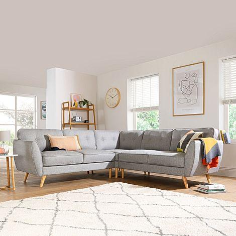 Harlow Light Grey Fabric Corner Sofa