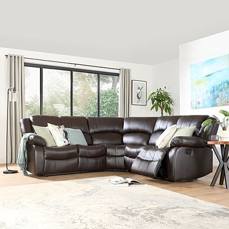 Dakota Brown Leather Recliner Corner Sofa