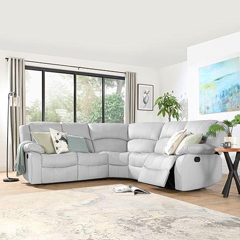 Dakota Light Grey Leather Recliner Corner Sofa