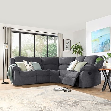 Dakota Slate Grey Plush Fabric Recliner Corner Sofa