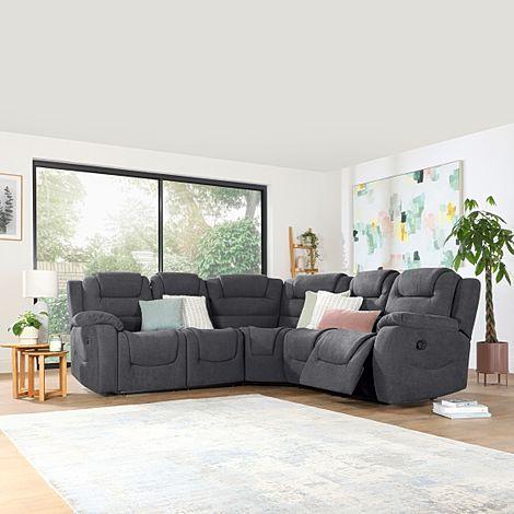Vancouver Slate Grey Plush Fabric Recliner Corner Sofa