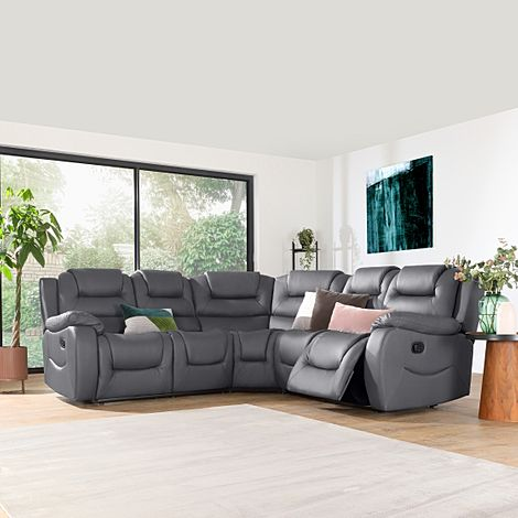 Vancouver Grey Leather Recliner Corner Sofa