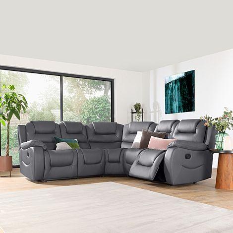 Vancouver Grey Leather Recliner Corner Sofa