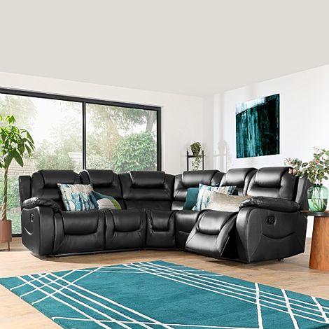 Vancouver Black Leather Recliner Corner Sofa