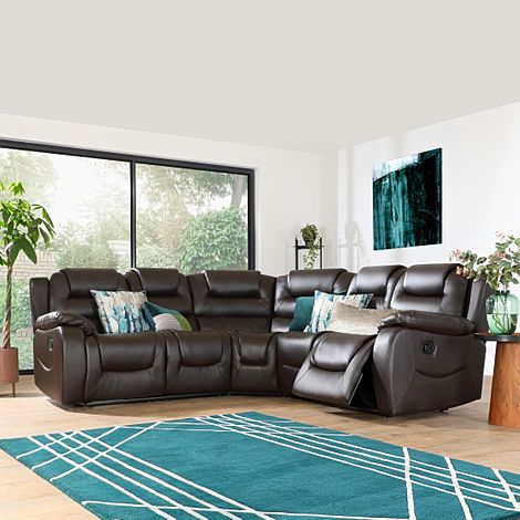 Vancouver Brown Leather Recliner Corner Sofa