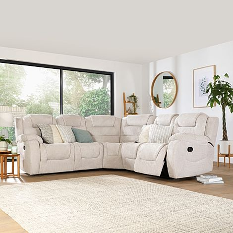 Vancouver Natural Dotted Cord Fabric Recliner Corner Sofa
