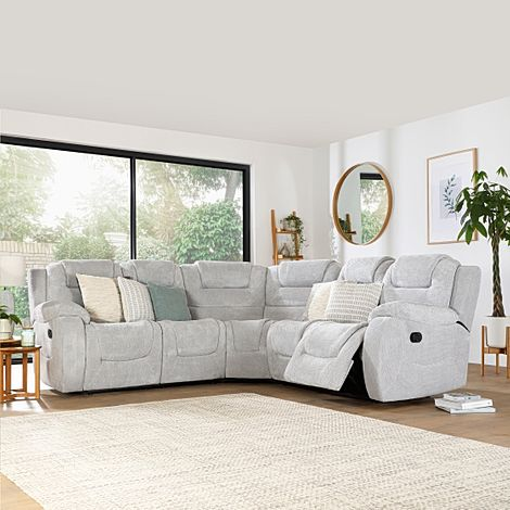 Vancouver Light Grey Dotted Cord Fabric Recliner Corner Sofa