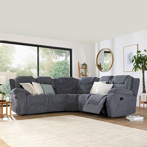 Vancouver Dark Grey Dotted Cord Fabric Recliner Corner Sofa