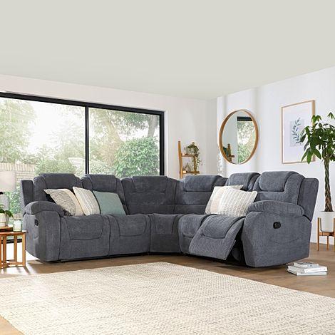 Vancouver Dark Grey Dotted Cord Fabric Recliner Corner Sofa