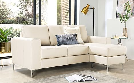 Baltimore Ivory Leather L Shape Corner Sofa