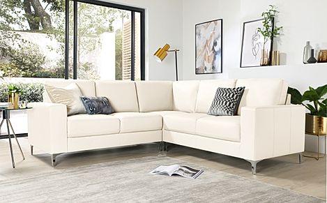 Baltimore Ivory Leather Corner Sofa