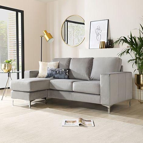 Baltimore Grey Velvet L Shape Corner Sofa