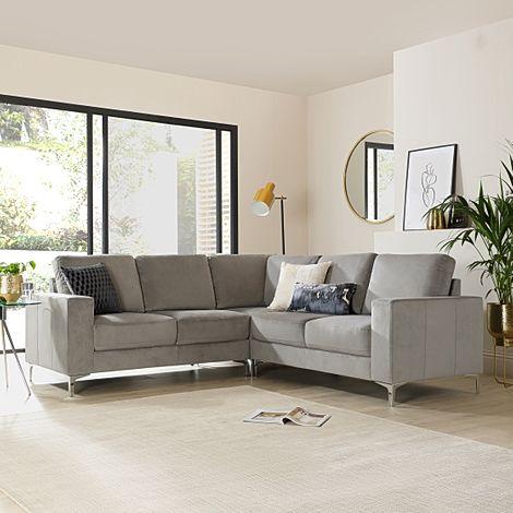 Baltimore Grey Velvet Corner Sofa