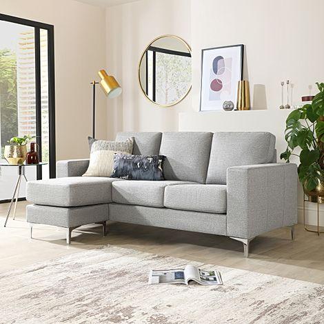 Baltimore Light Grey Fabric L Shape Corner Sofa