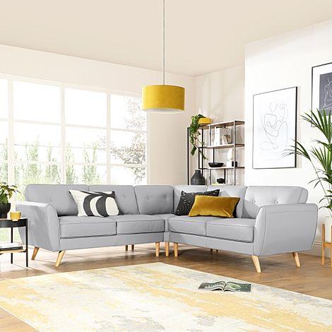Harlow Light Grey Leather Corner Sofa