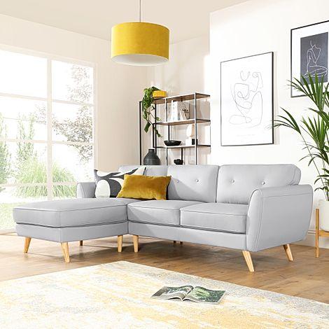 Harlow Light Grey Leather L Shape Corner Sofa - LHF
