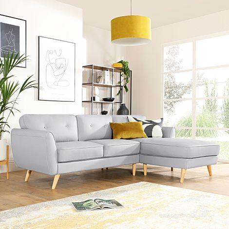 Harlow Light Grey Leather L Shape Corner Sofa - RHF