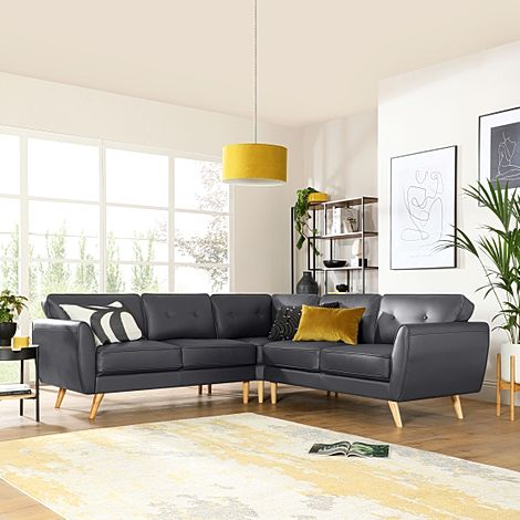 Harlow Grey Leather Corner Sofa