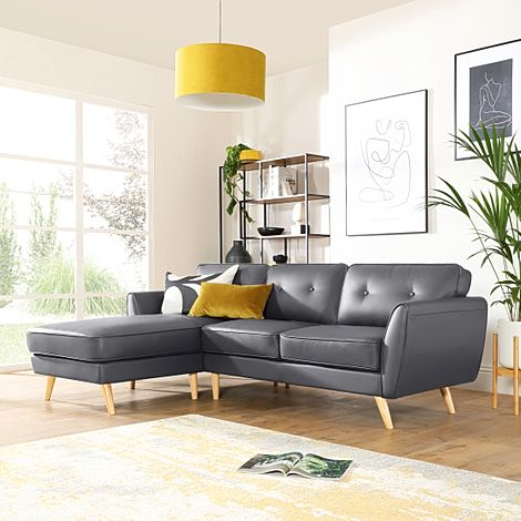 Harlow Grey Leather L Shape Corner Sofa - LHF
