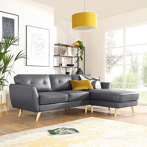 Harlow Grey Leather L Shape Corner Sofa - RHF