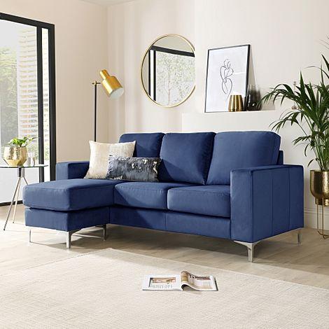 Baltimore Blue Velvet L Shape Corner Sofa
