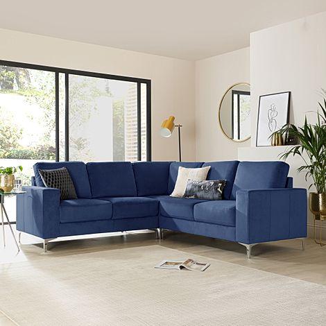 Baltimore Blue Velvet Corner Sofa