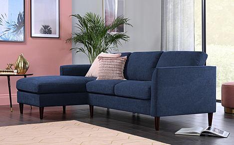 Hayward Blue Velvet L Shape Corner Sofa - LHF