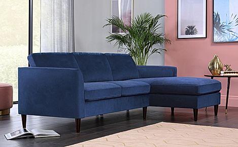 Hayward Blue Velvet L Shape Corner Sofa - RHF