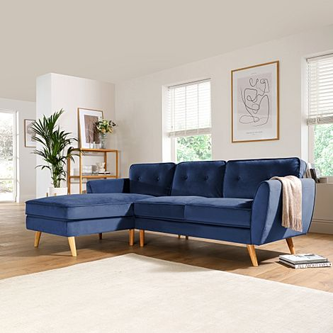 Harlow Blue Velvet L Shape Corner Sofa - LHF