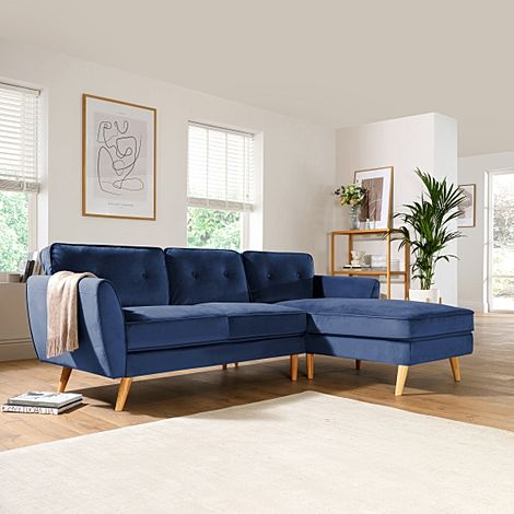 Harlow Blue Velvet L Shape Corner Sofa - RHF