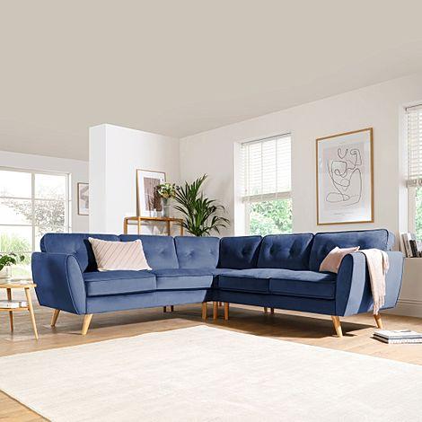 Harlow Blue Velvet Corner Sofa