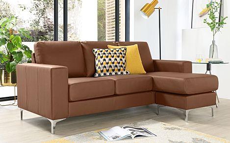 Baltimore Tan Leather L Shape Corner Sofa