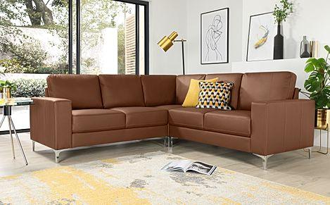 Baltimore Tan Leather Corner Sofa