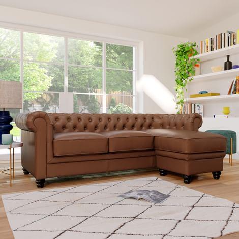 Hampton Tan Leather L Shape Chesterfield Corner Sofa