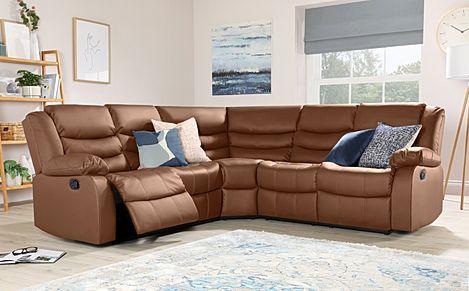 Sorrento Tan Leather Recliner Corner Sofa