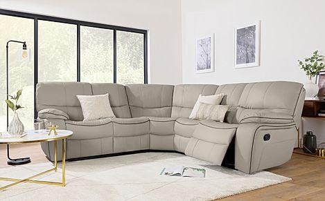 Beaumont Stone Grey Leather Recliner Corner Sofa
