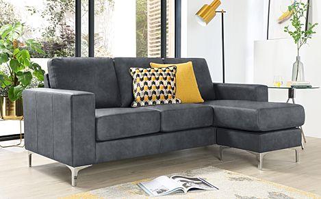Baltimore Vintage Grey Leather L Shape Corner Sofa