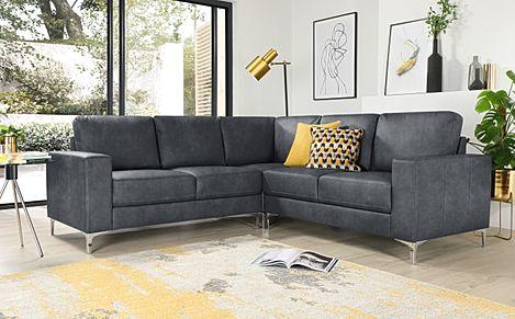 Baltimore Vintage Grey Leather Corner Sofa