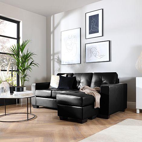 Rio Black Leather L Shape Corner Sofa
