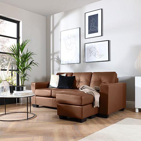 Rio Tan Leather L Shape Corner Sofa