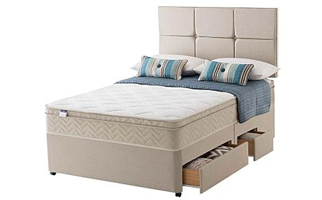 Silentnight Rio Miracoil Cushion Top Double Divan Bed with Ottoman Storage and 2 Drawers