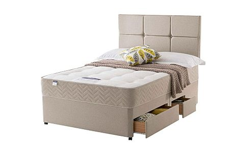 Silentnight Amsterdam Miracoil Ortho King Size Divan Bed with Ottoman Storage and 2 Drawers