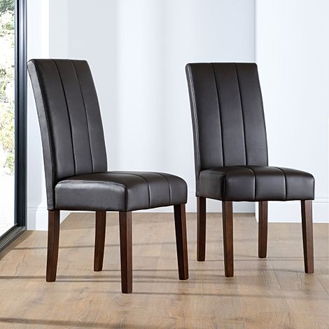 Carrick Brown Leather Dining Chair (Dark Leg)