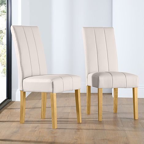 Carrick Ivory Leather Dining Chair (Oak Leg)